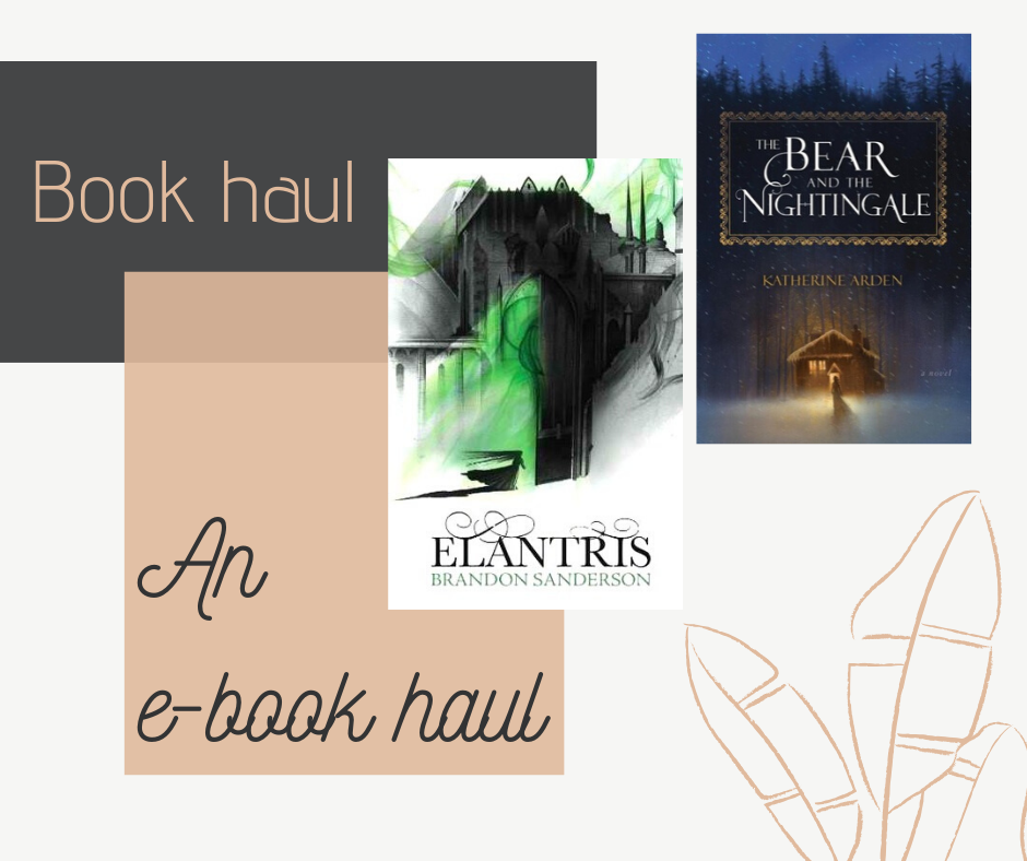 An e-book haul with Kindle book deals, including The Bear and the Nightingale by Katherine Arden and Elantris by Brandon Sanderson