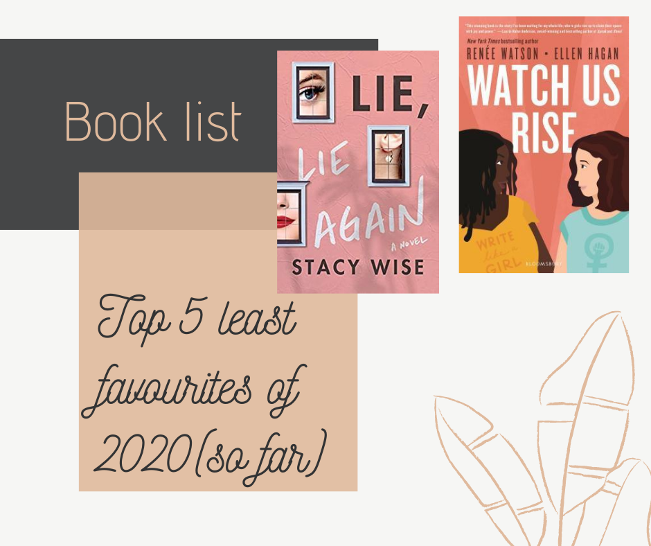 Blog post featuring my top 5 least favourite books of 2020 so far. Two of those books are Lie, Lie Again by Stacey Wise and Watch Us Rise by Renée Watson and Ellen Hagan.